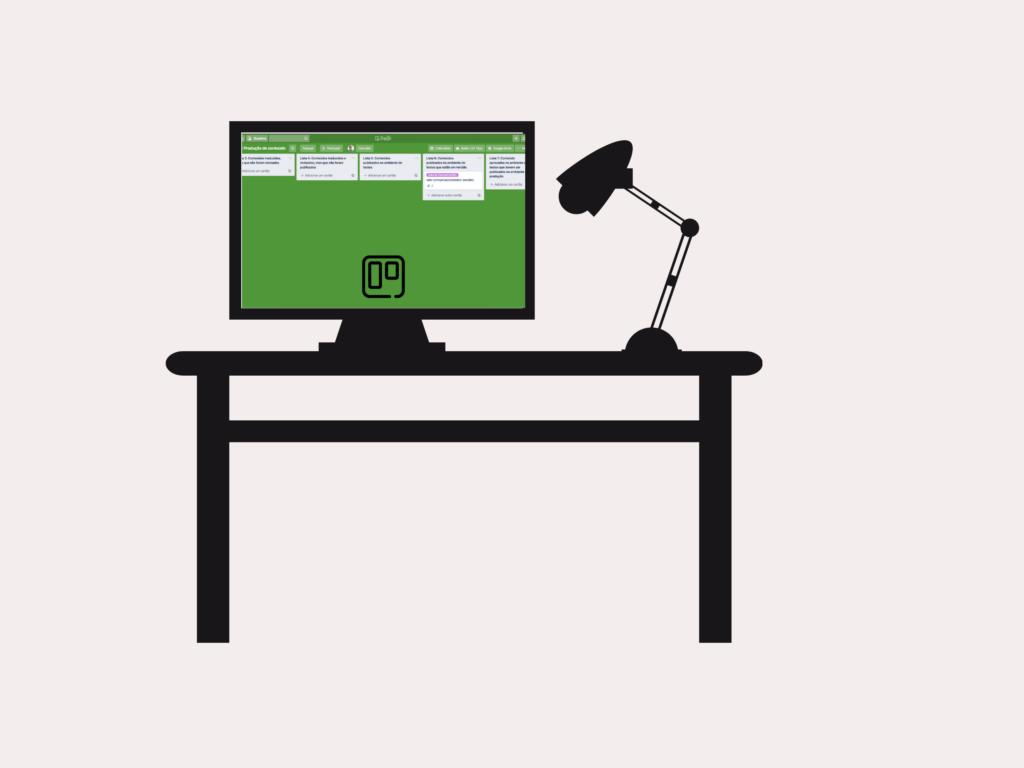 Tela de computador com imagem de quadro inspirador para organizar seu Trello