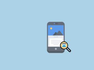 Celular com a ilustração de um texto. Ao seu lado, uma lupa fazendo alusão aos trabalho de otimização de um site (SEO)