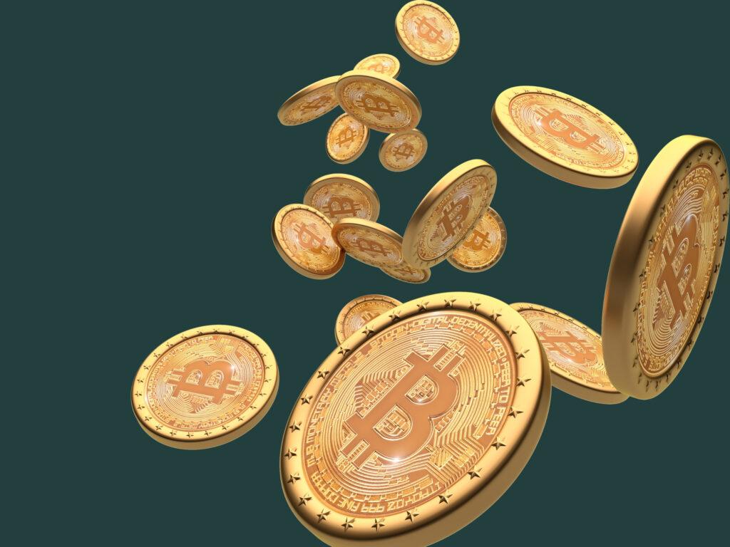 Moedas de Bitcoin espalhadas