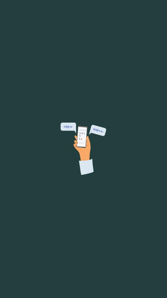 """ilustração de uma mão segurando um celular com conversas de áudio na tela. Ao lado, o títutlo """"Efeito Clubhouse"""""""