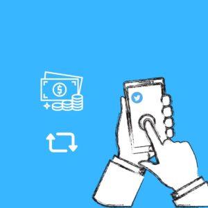 Uma mão segurando um celular com ícone do Twitter. Ao lado, dois ícones: um de dinheiro e outro de troca.