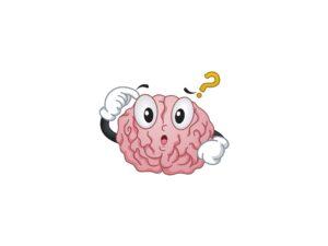 Ilustração de um cérebro com bloqueio criativo no centro da imagem. Em cima, um ponto de interrogração.