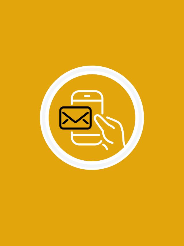 Fundo amarelo com ícone de newsletter no centro.