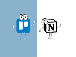 Imagem com fundo dividido em duas cores: azul e branco. De um lado, a marca do Trello com braços, olhos e pernas. Do outro, a marca do Notion com braços, olhos e pernas.